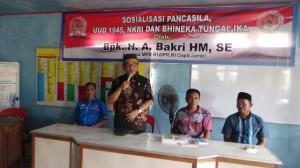H.Bakri Sosialisasikan 4 Pilar Kebangsaan Di Desa Kota Harapan